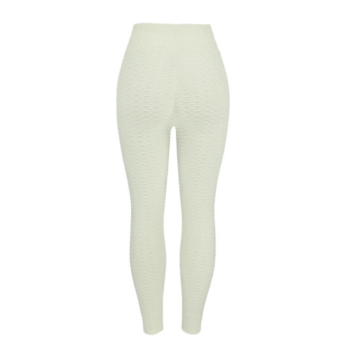 White Breathable hip-lifting sweat-absorbent sports fitness jacquard yoga slimming tight leggings
