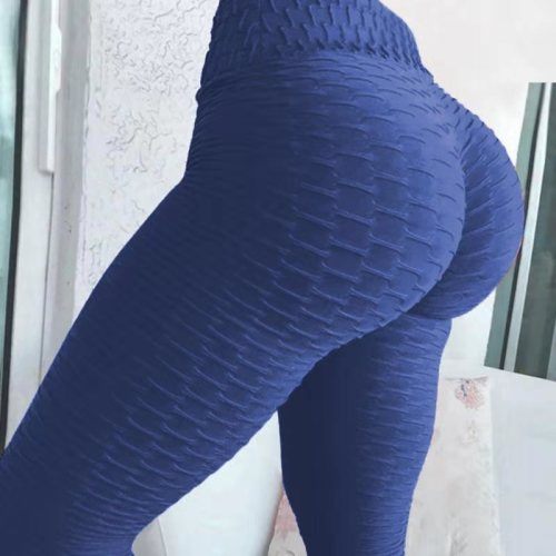 Navy Breathable hip-lifting sweat-absorbent sports fitness jacquard yoga slimming tight leggings
