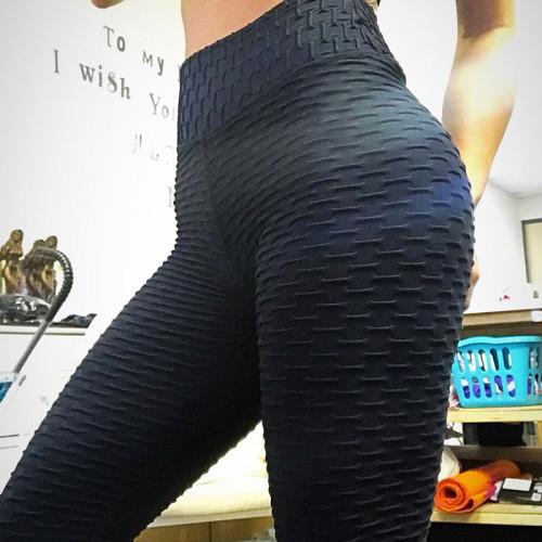 Black Breathable hip-lifting sweat-absorbent sports fitness jacquard yoga slimming tight leggings
