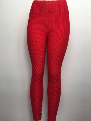 Red Breathable hip-lifting sweat-absorbent sports fitness jacquard yoga slimming tight leggings