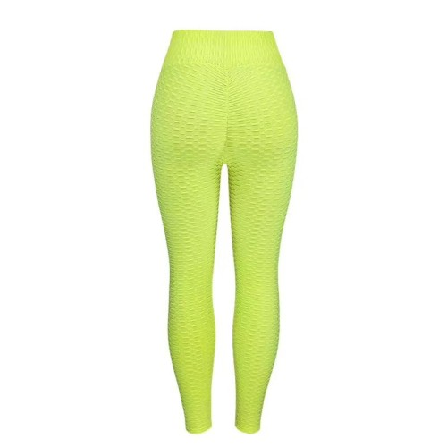 Green Breathable hip-lifting sweat-absorbent sports fitness jacquard yoga slimming tight leggings