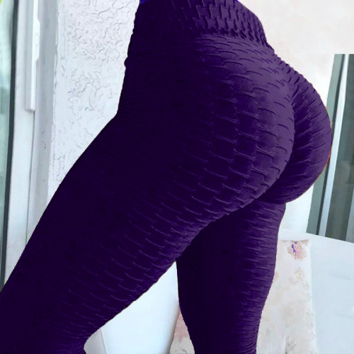 Violet Breathable hip-lifting sweat-absorbent sports fitness jacquard yoga slimming tight leggings