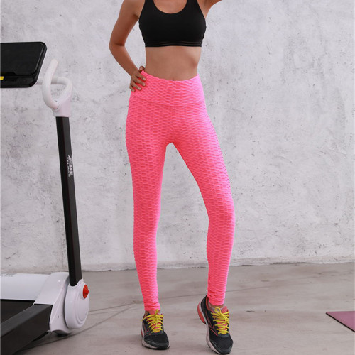 Pink Breathable hip-lifting sweat-absorbent sports fitness jacquard yoga slimming tight leggings
