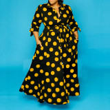 Shirt long sleeve polka dot print dress