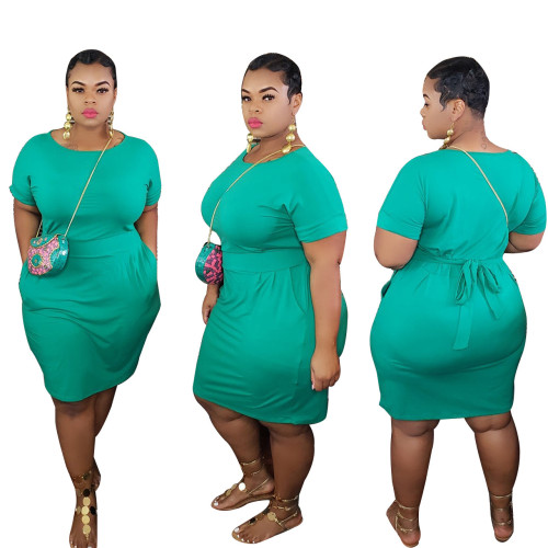 Green Pure color round neck short-sleeved T-shirt dress lace up casual plus size women's clothing