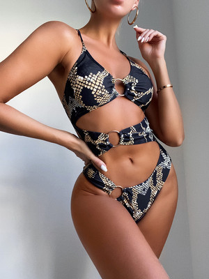 Printed sexy big steel ring ladies one-piece swimsuit swimsuit