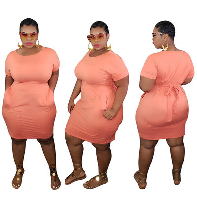 Orange Pure color round neck short-sleeved T-shirt dress lace up casual plus size women's clothing