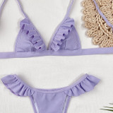 Ruffled pit strip ladies split swimsuit swimwear