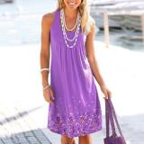 Violet Sleeveless printed loose dress