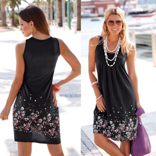 Black Sleeveless printed loose dress