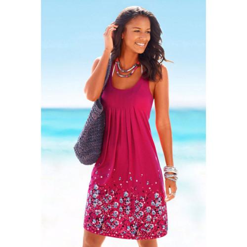 Rose red Sleeveless printed loose dress