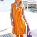 Orange Sleeveless printed loose dress