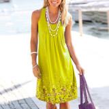Yellow Sleeveless printed loose dress