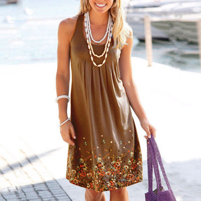 Khaki Sleeveless printed loose dress