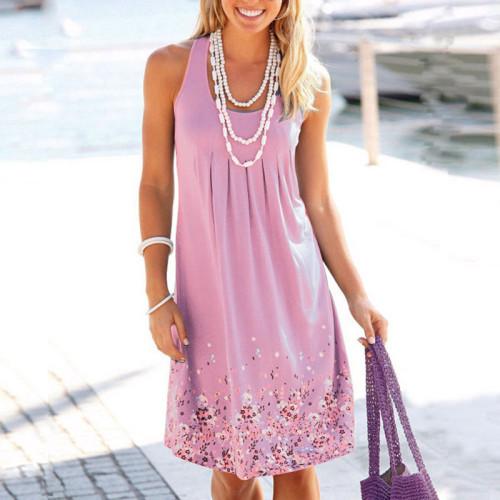 Pink Sleeveless printed loose dress