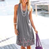 Gray Sleeveless printed loose dress