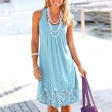 Sky bule Sleeveless printed loose dress