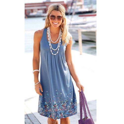 Bule Sleeveless printed loose dress