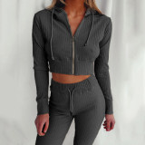 Hooded Long Sleeve Slim Fit Sports Casual Suit