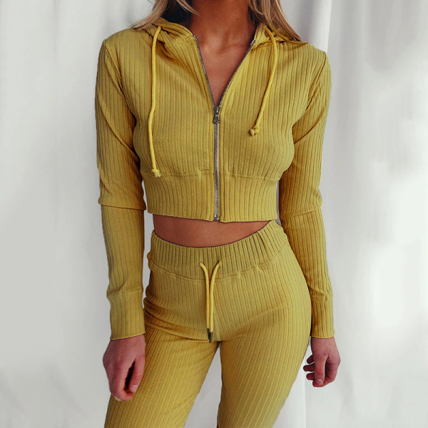 Yellow Hooded Long Sleeve Slim Fit Sports Casual Suit