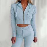 Light bule Hooded Long Sleeve Slim Fit Sports Casual Suit
