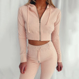 Light pink Hooded Long Sleeve Slim Fit Sports Casual Suit