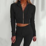 Black Hooded Long Sleeve Slim Fit Sports Casual Suit