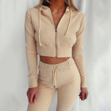 Khaki Hooded Long Sleeve Slim Fit Sports Casual Suit