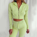 Green Hooded Long Sleeve Slim Fit Sports Casual Suit