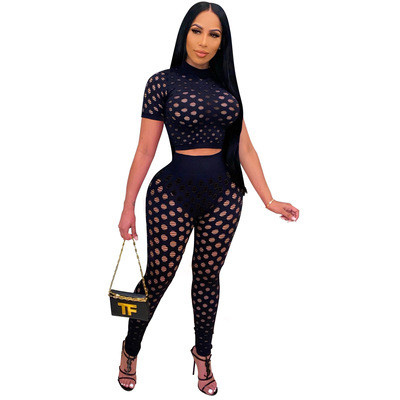 Black Sexy European and American ladies hollow short-sleeved ladies two-piece trousers suit