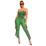 Green Sexy party leopard see-through tube top jumpsuit nightclub outfit