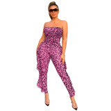 Rose red Sexy party leopard see-through tube top jumpsuit nightclub outfit