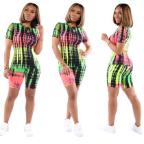 Women's casual printed short-sleeved sports two-piece suit