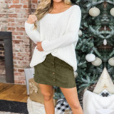 Army green Four-color pocket suede button slim skirt