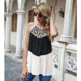 White Spring and summer leopard stitching vest European and American women's top