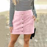 Black Four-color pocket suede button slim skirt