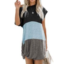 Short-sleeved three-color stitching twisted contrast pocket dress
