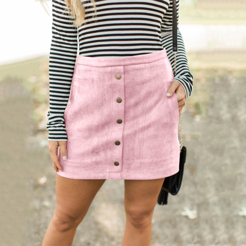 Pink Four-color pocket suede button slim skirt