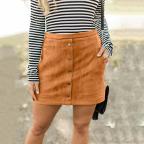 Brown Four-color pocket suede button slim skirt