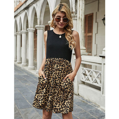 Black Spring and summer leopard stitching sleeveless vest dress