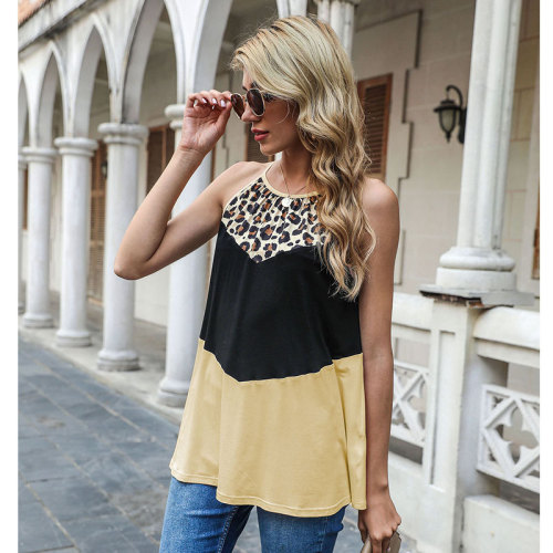 Beige Spring and summer leopard stitching vest European and American women's top