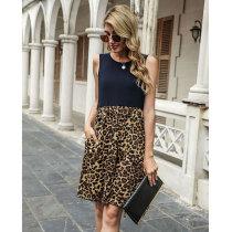 Dark bule Spring and summer leopard stitching sleeveless vest dress
