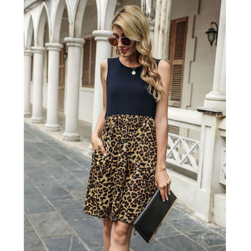 Dark bule Spring and summer leopard stitching sleeveless vest dress