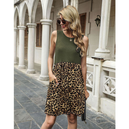 Army green Spring and summer leopard stitching sleeveless vest dress