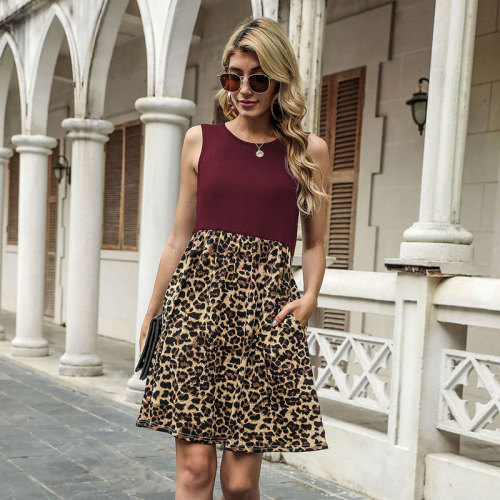 Claret Spring and summer leopard stitching sleeveless vest dress