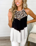 Light pink Spring and summer leopard stitching vest European and American women's top