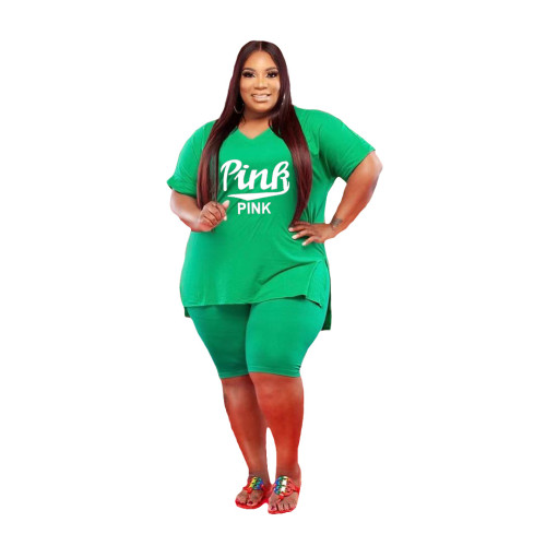 Green Large size leisure sports suit
