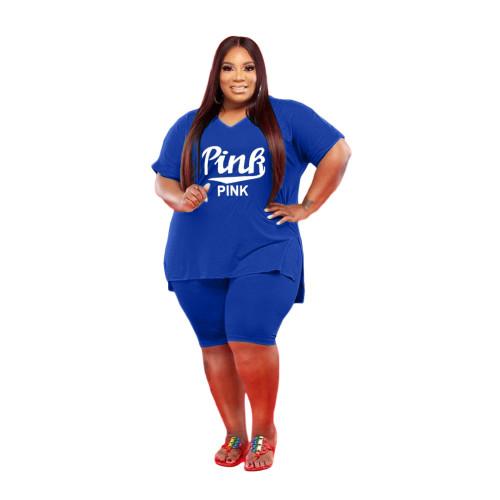 Bule Large size leisure sports suit