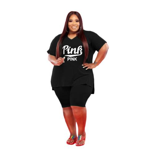 Black Large size leisure sports suit