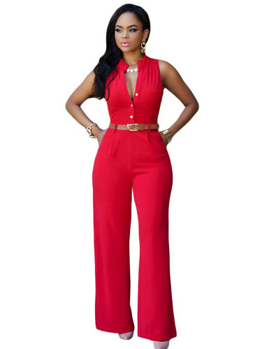 Red Single-breasted high-waist belted wide-leg pants jumpsuit